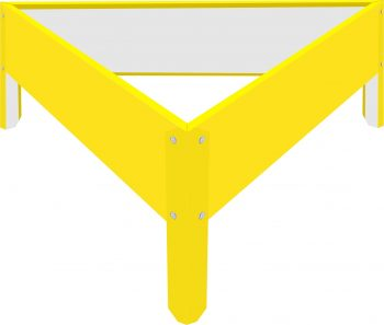 Металлическая треугольная клумба Жёлтый RAL1018