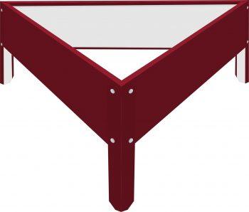 Металлическая треугольная клумба Вишнёвый RAL3005