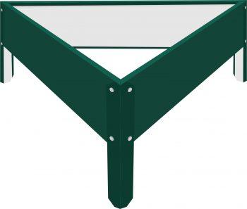 Металлическая треугольная клумба Зеленый мох RAL6005