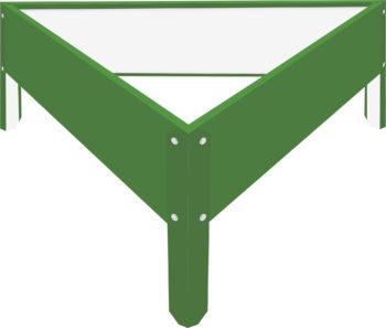 Металлическая треугольная клумба Зеленая листва RAL6002